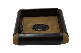 (Brown) - REAL MADRID -Premium Genuine Leather- Deluxe Desk Valet Tray -Handmade-. Colour Brown RMJ-80018B