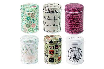 leyoubei Retro double cover Home Kitchen Storage Containers Colourful Tins Round Tea Tins Set of 6