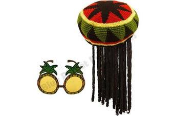 Jamaican Rasta Hat with Dreadlocks Wig & Pineapple Glasses Caribbean Fancy Dress