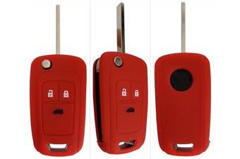 (3-Button-Keybit, red) - CK+ Vauxhall Opel Adam Astra Corsa Insignia Meriva Zafira Car Key Case Cover
