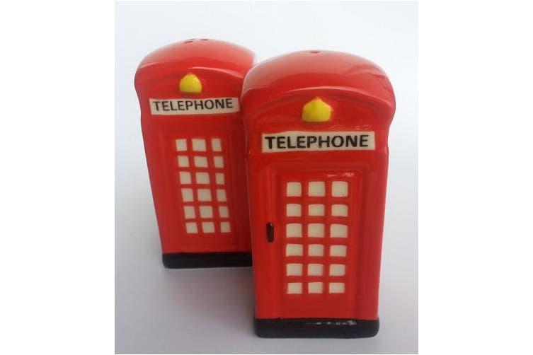 Telephone Box Salt and Pepper Shakers - Handpainted Ceramic. Red UK British Phone Box