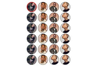 24 Chris Brown Edible Wafer Paper Cup Cake Toppers