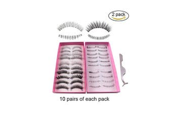 (Upper Lower Combo) - Teenitor Anime Eyelashes, 20 Pair 20 Desgin Japanese Cosplay Eyelash Fake False Upper Lower Eyelash Lower Lashes False Eyelashes With Eyelashes Applicator Tool(10 Pair Upper + 10 Pair Lower)