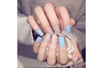 YUNAI False Nails for Teens/Girls Light Blue with Matte Pink Fake Nail Medium Size