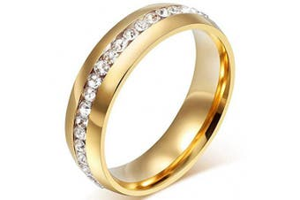 (Size 7, Gold) - Chryssa Youree Mens Womens 6MM Stainless Steel High Polished Gold Silver Channel Cubic Zirconia CZ Promise Engagement Band Unisex Wedding Ring Size 5 to 12(SZZ-023) (Size 7, gold)