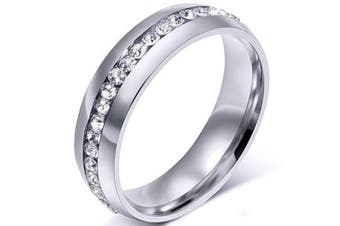 (Size 8, Silver) - Chryssa Youree Mens Womens 6MM Stainless Steel High Polished Gold Silver Channel Cubic Zirconia CZ Promise Engagement Band Unisex Wedding Ring Size 5 to 12(SZZ-023) (Size 8, silver)