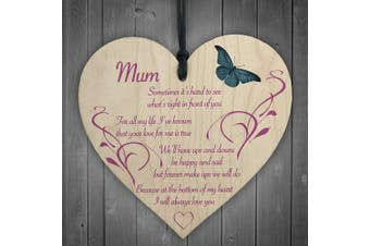 Red Ocean Mum I Will Always Love You Wooden Hanging Heart Mothers Day Present Plaque Gift