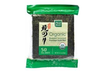 One Organic Sushi Nori Premium Roasted Organic Seaweed (50 Full Sheets), New