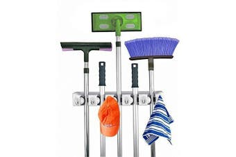 (5 position) - Home- It Mop And Broom Holder, 5 Position With 6 Hooks Garage Storage Holds Up