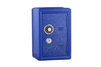Kids Safe Bank, Made Of Metal, With Key And Combination Lock, (blue)