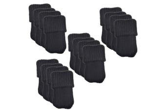 Bcp 16pcs Knitting Wool Furniture Socks/ Chair Leg Floor Protector (black