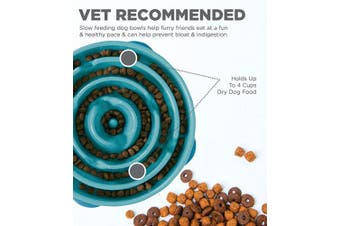 (Large, Teal) - Outward Hound Fun Feeder Dog Bowl Slow Feeder Stop Bloat For Dogs, Large, Blue