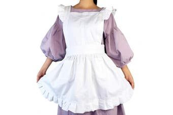 Lilments Retro Ruffle Apron Kitchen Cooking Baking Ing Maid Costume White, New