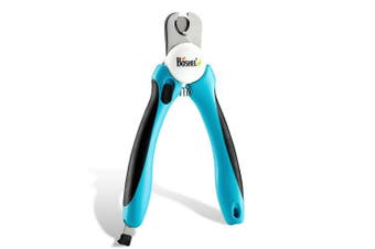 (Deep blue) - Dog Nail Clippers and Trimmer By Boshel - With Safety Guard to Avoid Over-cutting Nails & Free Nail File - Razor Sharp Blades - Sturdy Non Slip Handles - For Safe, Professional At Home Grooming