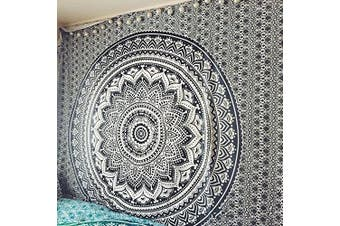 """(Black & White) - Exclusive """"Black and White & Grey Ombre Tapestry by JaipurHandloom"""" Henna Mandala Tapestry, Queen, Multi Colour Indian Mandala Wall Art Hippie Wall Hanging Bohemian Bedspread"""
