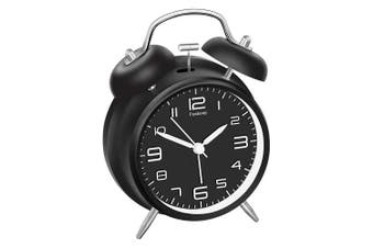 (Black) - Peakeep 10cm Twin Bell Alarm Clock with Stereoscopic Dial, Backlight, Battery Operated Loud Alarm Clock (Black)