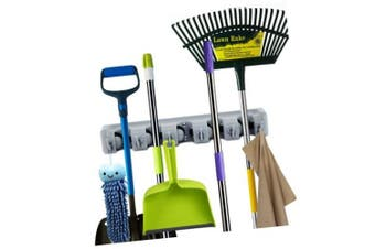 ForHauz Broom and Mop Holder with 5 Holding Positions & 6 Hooks, Easy Wall Mount Storage for Organising Garage or Home