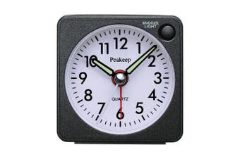 Ultra Small, Peakeep Battery Travel Alarm Clock With Snooze And Light, Silent