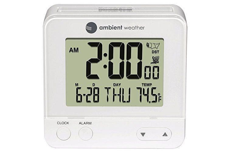 Ambient Weather Rc-8300-white Atomic Travel Compact Alarm Clock With Auto
