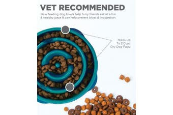 (Small, Teal) - Outward Hound Kyjen 51006 Fun Feeder Slow Feed Interactive Bloat Stop Dog Bowl,