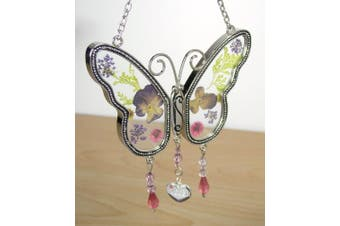 Sister Butterfly Suncatcher With Pressed Flower Wings - Sister Gifts - Gifts
