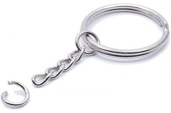 (28mm100PCS) - Metal Split Keychain Ring Parts - 100 Key Chains with 28mm Open Jump Ring and Connector - Make Your Own Key Ring