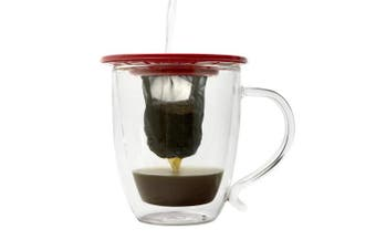 (Red) - Primula Single Serve Coffee Brew Buddy – Nearly Universal Fit – Ideal for Travel – Eco-Friendly Reusable Fine Mesh Filter – Dishwasher Safe – Red
