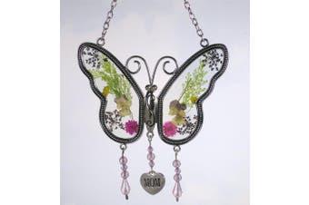 Mom Butterfly Mother Suncatcher With Pressed Flower Wings Butterfly Suncatcher
