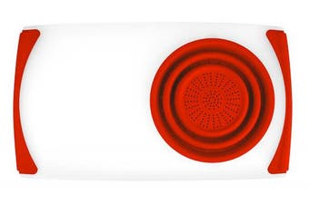 Dexas Over The Sink Strainer Board, 29cm X 50cm , Natural/red