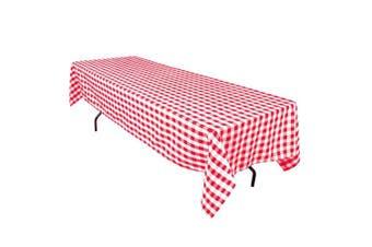 (white) - 60 X 126 Rectangular Polyester Tablecloth Red White Checker 60126-010335