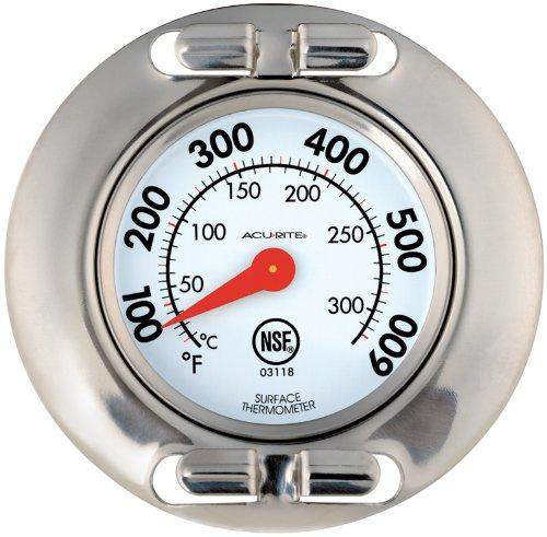 Acurite 3118 Stainless Steel Grill Surface Thermometer Professional Grill Surface Thermometer. NSF certified. Made of stainless steel with a 4.7cm easy to read dial. Dishwasher safe. Perfect for metal cooking surfaces. Glass lens. Stainless steel construction.