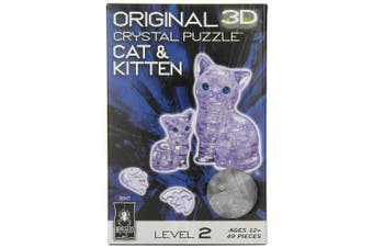 (Cat and Kitten (Clear)) - Original 3D Crystal Puzzle - Cat & Kitten Clear
