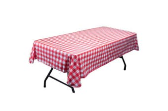 Red And White Vinyl Table Cloth With Flannel Backing By Pudgy Pedro's Party Supp