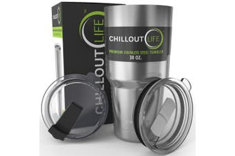 (890ml, Silver) - CHILLOUT LIFE Stainless Steel Coffee Mug 890ml with 2 Lids - Premium Quality Double Wall Vacuum Insulated Coffee Mug | Large Travel Coffee Mug for Hot & Cold Drinks . Gift