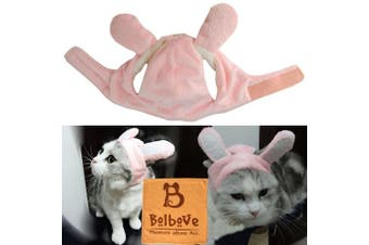 (Large, Pink Bunny) - Bro'Bear Bunny Rabbit Hat with Ears for Cats & Small Dogs Party Costume Accessory Headwear
