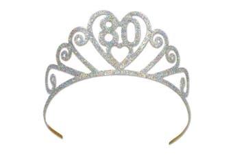 "(80 cm) - Beistle 60633-80 Glittered Metal ""200cm Tiara Silver, New"