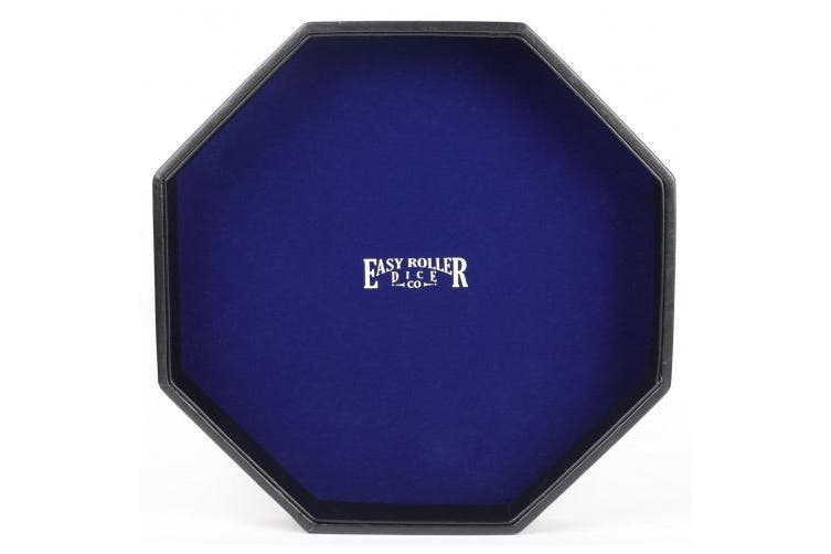 Dice Tray - Heavy Duty 29cm Leatherette With Blue Velvet Rolling Surface