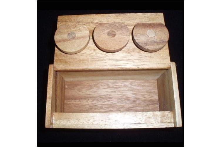 3 Wheel Combination Secret Lock Puzzle Box