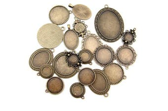 (Antique Bronze) - All In One 20pcs Mixed Cabochon Frame Setting Tray Pendant For Diy Jewellery