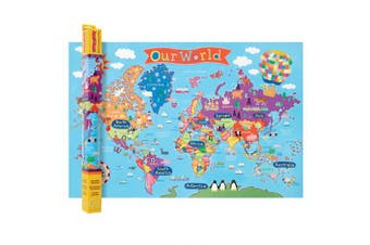 Kid's Laminated World Map Laminated Poster Print, 36x24