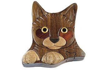 Hand Carved In Vietnam Wooden Cat Puzzle Box- Intarsia Wood Art, New, Free Shipp