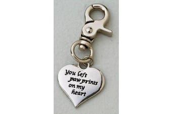 Pet Dog Cat Memorial Charm 7.6cm Zinc You Left Paw Prints On My Heart 64536