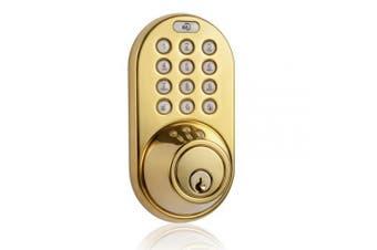 (Polished Brass) - MiLocks DF-02P Keyless Entry Deadbolt Door Lock with Electronic Digital Keypad Entry, Polished Brass