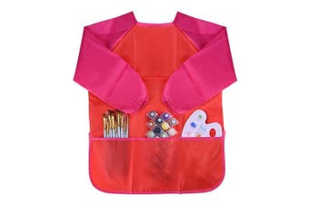 (Pretend Play Toys-12) - KUUQA Childrens Kids Toddler Red Waterproof Play Apron Smock with 3 Roomy Pockets - Painting, Baking, Cooking, Smock - Age . Paints and Brushes not included)