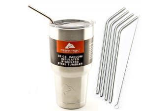 (4 Bend Straws 890ml) - 4 Bend Stainless Steel Straws Ozark Trail 890ml Double-wall Rambler Vacuum Ne