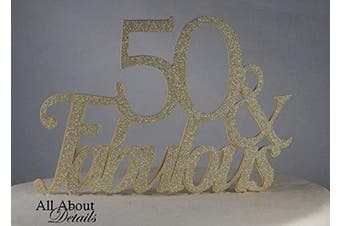 All About Details Gold 50- & -fabulous Cake Topper, New,  .