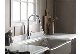 (High Arch, Vibrant Stainless) - KOHLER K-596-VS Simplice Kitchen Faucet, Vibrant Stainless