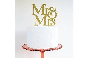 [usa-sales] Mr And Mrs Sign, Bride And Groom Cake Topper Gold, Wedding