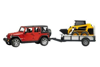 Bruder Jeep Wrangler Unlimited Rubicon and One Axle Trailer and Cat Skid Steer Loader by Bruder