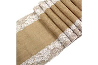 Ourwarm Burlap Lace Hessian Table Runner Jute Country Outdoor Wedding Party